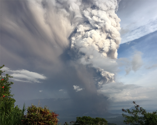 Eruption of Mt. Taal in the Philippines